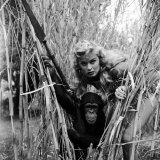 "Actress Irish Mccalla as ""Sheena Queen of the Jungle"" and Her Chimpanzee Costar"