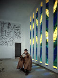 Artist Henri Matisse in Chapel He Created the Tiles on Wall Depict Stations of the Cross