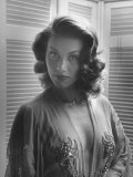 Actress Linda Christian in Gown with Plunging Neckline  Wearing Small Cross