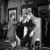 "Dean Martin and Jerry Lewis Clowning around on Set During the Shooting of the Film ""The Stooge"""