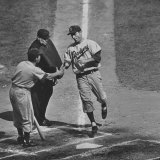 Brooklyn Dodger Carl Furillo Greeted by Batboy at Home Plate  World Series  Yankee Stadium