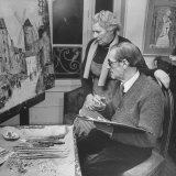 Maurice Utrillo Painting an Old Scene  While Discussing it with Artist Wife  Lucie Valore