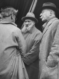 Bearded French Sculptor Constanin Brancusi  Sharing Impressions with Surrealist Poet Tristan Tzara
