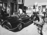 """Batman"" Adam West and ""Robin"" Burt Ward During Shooting of Scene"