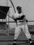 Baseball Player Willie Mays Batting During Pre-Game Practice