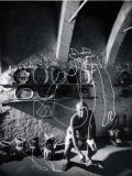 Artist Pablo Picasso &quot;Painting&quot; with Light at the Madoura Pottery