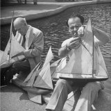 Artist Lyonel Feninger and Lux Feninger  Repairing Model Boats before Racing Them