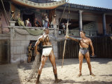 Actors Woody Strode and Kirk Douglas in a Scene from the Film &quot;Spartacus&quot;