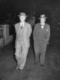 Physicist J Robert Oppenheimer Walking with His Lawyer Lloyd K Garrison
