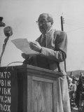 Actor Adolphe Menjou Making a Speech at the Opening of Oak Ridge Atomic Energy Center