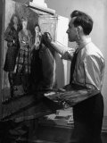 "Artist Raphael Soyer Painting Scene from the Movie ""The Long Voyage Home"""