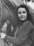 13-Yr-Old Actress Elizabeth Taylor with Her Favorite Pet  a Horse Named Peanuts