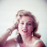 Portrait of Swedish-Born Actress Anita Ekberg with Ornate Bracelet and Earrings