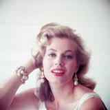 Portrait of Swedish-Born Actress Anita Ekberg with Ornate Bracelet and Earrings