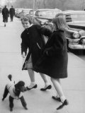Actress Grace Kelly's Nieces Walking Her Dogs on 5th Avenue