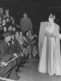 Actress Hedda Hopper Talking to the Crowd at the 1945 Motion Picture Academy Award