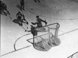 Hockey Great Jean Beliveau Taking a Shot on Net