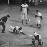 Action During a Game Between the Brooklyn Dodgers and the Milwaukee Braves at Ebbet&#39;s Field