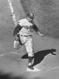 Gil Hodges Wearing Baseball Cap Running to Base During World Series Game