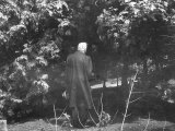 "Robert Frost During His Visit  Standing Near Tree Which Inspired His Poem ""Tree at My Window"""