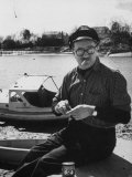 Author Richard Bissell Sitting on His Boat