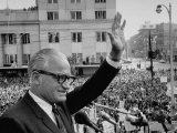 Sen Barry Goldwater Waving to Crowd During Stop in Pres Campaign Tour of Midwest