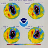 Noaa Tovs Total Ozone Display Featuring Composite Satellite Images Obtained in 4-Month Period