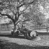 Tractor Which Spreads Liquid Manure on the Land