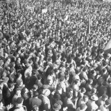 Crowds Listening to Communist Speaker During Election Campaign