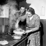 Signora Socci Cooking Spaghetti Dinner for American Sergeant Alexander before He Leaves