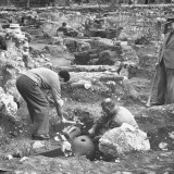 Archaeologist Excavationing Ancient Pots at Agora Ancient Market Place