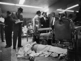 "Corpse of Albert ""The Executioner"" Anastasia Covered with Barber Towels on Floor of Barber Shop"