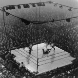 Boxing Ring as Heavyweight Champion Joe Louis Lies on Canvas  after Floored by Jersey Joe Walcott