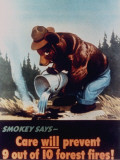 "Poster of Smokey the Bear Putting Out a Forest Fire  ""Care Will Prevent 9 Out of 10 Forest Fires!"""