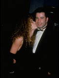 "Kelly Preston Kissing Cheek of Boyfriend John Travolta at Premiere of ""Look Who's Talking Too"""