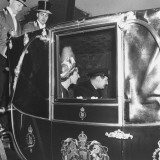 King Frederik IX and Queen Ingrid of Denmark Arriving at the Royal Wedding