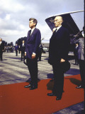 President Kennedy and Chancellor Adenauer Walking Red Carpet at Airport Arrival Ceremony  Germany