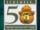 Poster of Smokey the Bear with Caption Reading Remember - 50 - Smokey Has for Fifty Years