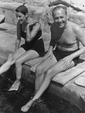 Actress Beatrice Lillie and Comedian Jack Benny Relaxing by the Pool on the French Riviera