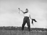 Vice Presidential Candidate Henry A Wallace  Throwing a Boomerang in a Field