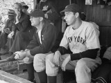 Yankee Great Joe Dimaggio Sitting in Dugout  Watching Game Yankees Vs Brooklyn Dodgers