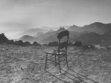 Lone Wooden Chair on Hillside Overlooking the Santa Lucia Mountain Range  California