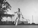 Vice Presidential Candidate Henry A Wallace  Playing a Game of Tennis