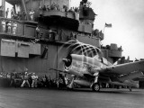 Crew Members on Deck of American Aircraft Carrier  Watching Take-Off of a F6F Hellcat
