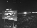 Sign on Merritt Parkway Telling Motorist That They are Now Entering the State