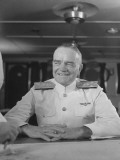 "Close-Up of Admiral William F Halsey Aboard Aircraft Carrier ""Enterprise"""