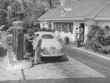 Car Being Filled Up at a Gulf Filling Station Along Merritt Parkway