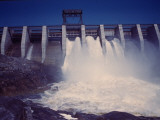 Saguenay River Water Falling Through Slices Atop Shipshaw Dam