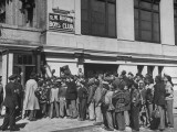 Crowd Standing Outside at Opening of Boys' Club