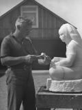 Artist Donald Hord Working on Sculpture